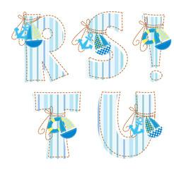 Patchwork alphabet. Letter R, S, T, U, !