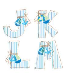 Patchwork alphabet. Letter J, K, L, M