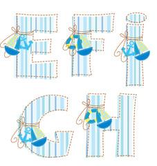 Patchwork alphabet. Letter E, F, G, H, !