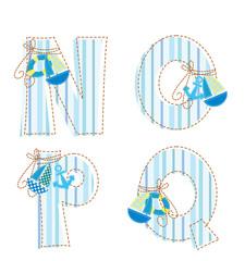Patchwork alphabet. Letter N, O, P, Q