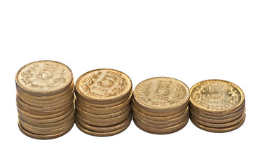 Coin stack isolated on white copy space