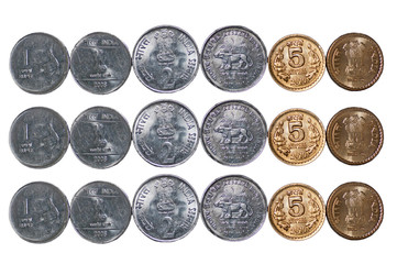 3 rows Indian currency Coins isolated on white copy space