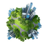Fototapety Conceptual mini planet parks along with skyscrapers roads