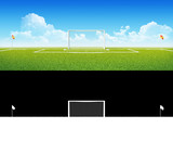 Football (soccer) goals on clean empty green field with alpha
