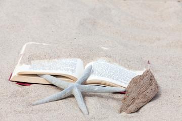 Buch liegt am Strand unter einem Seestern