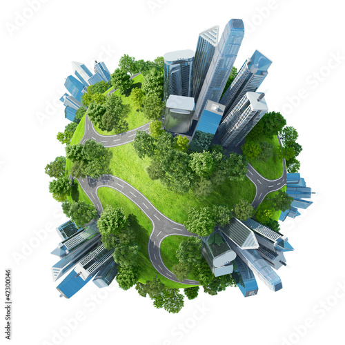 Conceptual mini planet parks along with skyscrapers roads