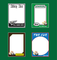 Billiards Trading Card Picture Frames
