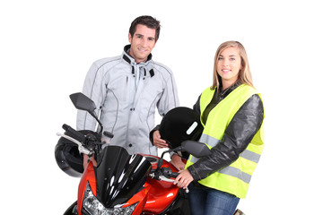 portrait of young people with motorbike