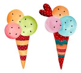 ice-cream. watercolors on paper