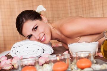 Beautiful young woman at spa