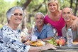 Senior woman having a picnic with friends - 42302294