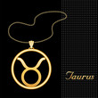 Taurus Necklace and Chain, gold silhouette astrology symbol