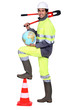 Tradesman holding a globe and a pipe wrench