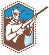 Hunter With Shotgun Rifle Duck Shooting Retro
