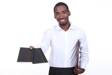 Waitor giving menus