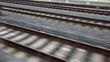 Close view of railroad track moving at high speed