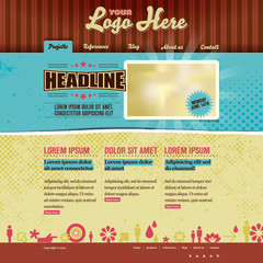 Website vector template - modern retro design