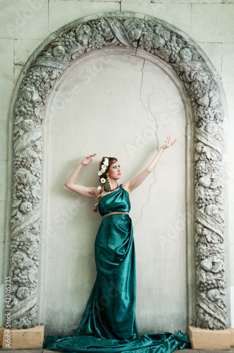 Antiquity. Portrait of attractive beautiful girl in the image of