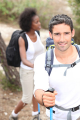 Couple on hiking holiday