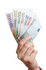 Hand hält Geldfächer