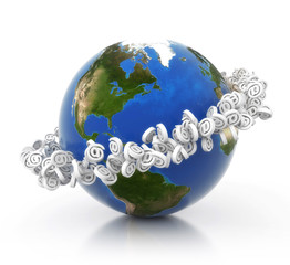 3D earth with e-mail ring.