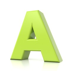 3D green letter collection - A