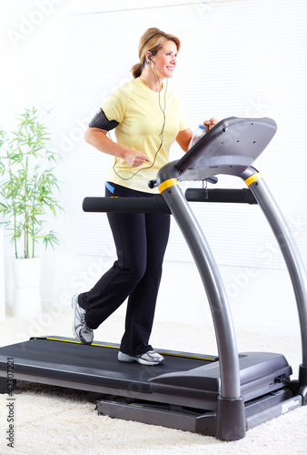 Senior woman doing exercise.