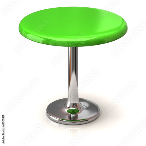 Green coffee shop table isolated on white background