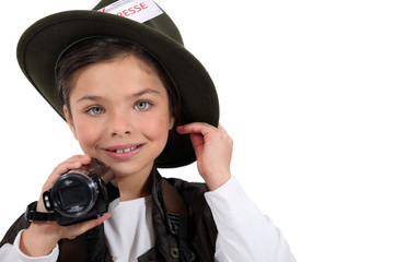 child disguised as a reporter