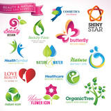 Set of vector icons and symbols for beauty and nature