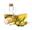 aceitunas con botellas de aceite aisladas