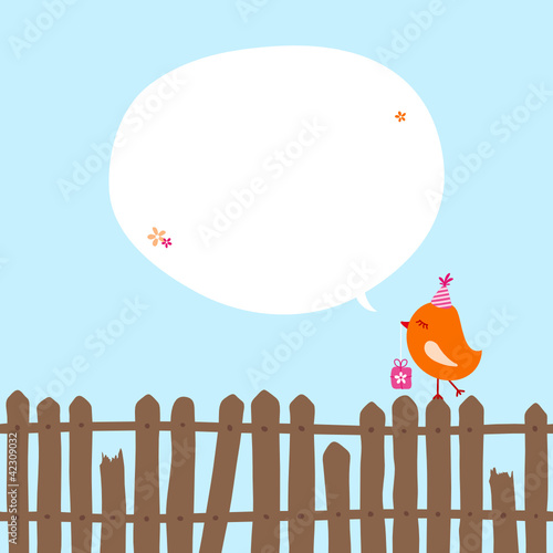 Orange Bird With Gift On Fence Speech Bubble Blue