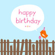 "Orange Bird Gift Fence Speech Bubble ""Happy Birthday"" Blue"
