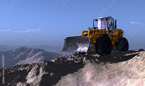 Excavators in the mountains.