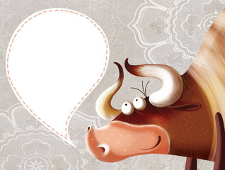 Happy cartoon bull with a  sign and a vintage background.