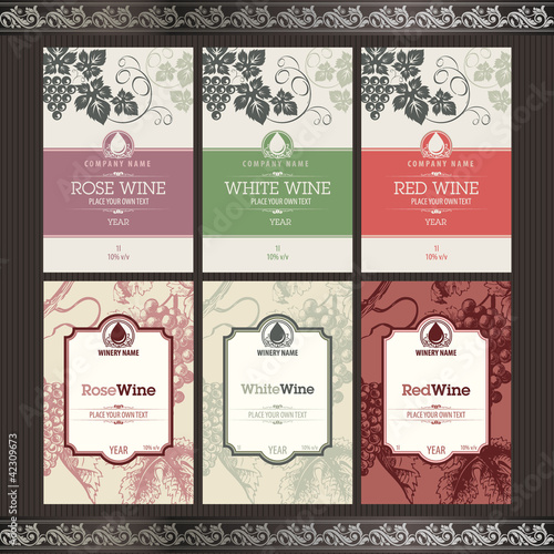 Set of vector wine labels - 42309673