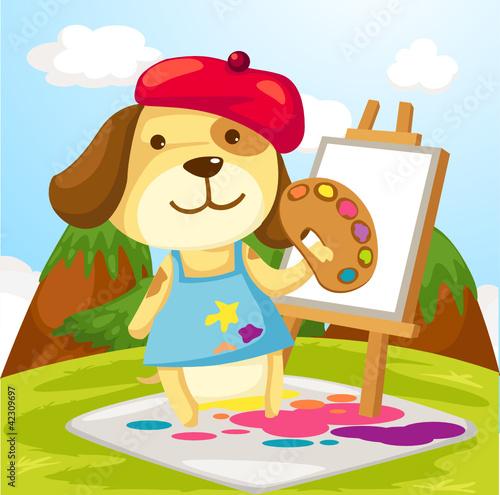 Artist dog painting