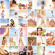 A collage of spa images with young and attractive women