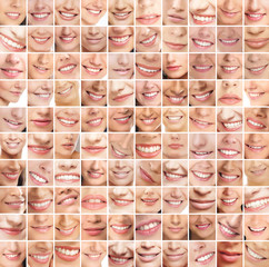 A huge collage of many different smiles of young women