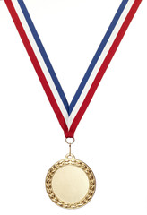 blank bronze sports medal with clipping path isolated on white w