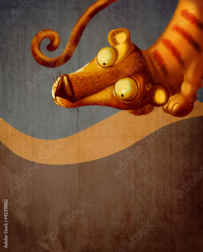 Illustration of  the Tiger/Vintage background with a tiger