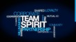 Team spirit partnership word tag cloud animation