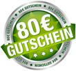 """Button Banner """"80 € Gutschein"""" grün/silber"""