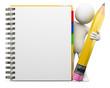 Leinwanddruck Bild - 3D white people. Notepad
