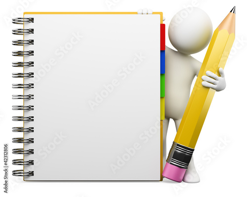 Leinwanddruck Bild 3D white people. Notepad
