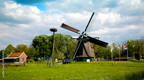 spring dutch landscape with windmill