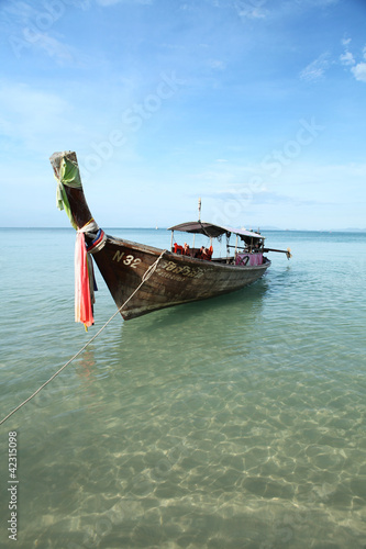 Longtail boat on a Thai Beach, Krabi