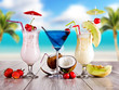 Obrazy na ścianę i fototapety : Summer drinks with blur beach on background