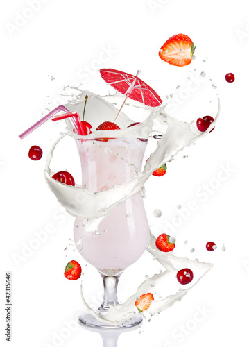 Milky cocktail, isolated on white background