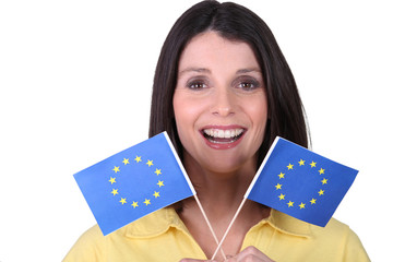 brunette  brandishing European flags